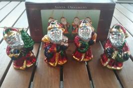 """Santa's Collection Lot 4 Metal Santa Ornaments 3 /14"""" tall - Christmas Set - $7.33"""