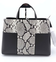 NWT Tory Burch Block-T Embossed Snake Leather Triple Compartment Tote Bag $598 - $348.00