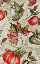 "Autumn Harvest Fruits and Foliage Vinyl Flannel Back Tablecloth 60"" Round - $15.99"