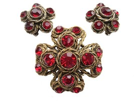 RARE 50s-60s HAR Hargo Creations of New York Chunky Ruby Red Rhinestone ... - $225.00