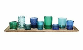 Creative Co-Op DA5406 Wood Tray with 9 Blue & Green Glass Votive Cool Blues - $58.89
