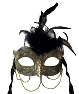 Gold Metallic with Chains Venetian Masquerade Mask Black Feather Small - $9.49