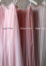 LIGHT PINK Full Length Tulle Skirt Plus Size High Waist Pink Tulle Skirt image 8