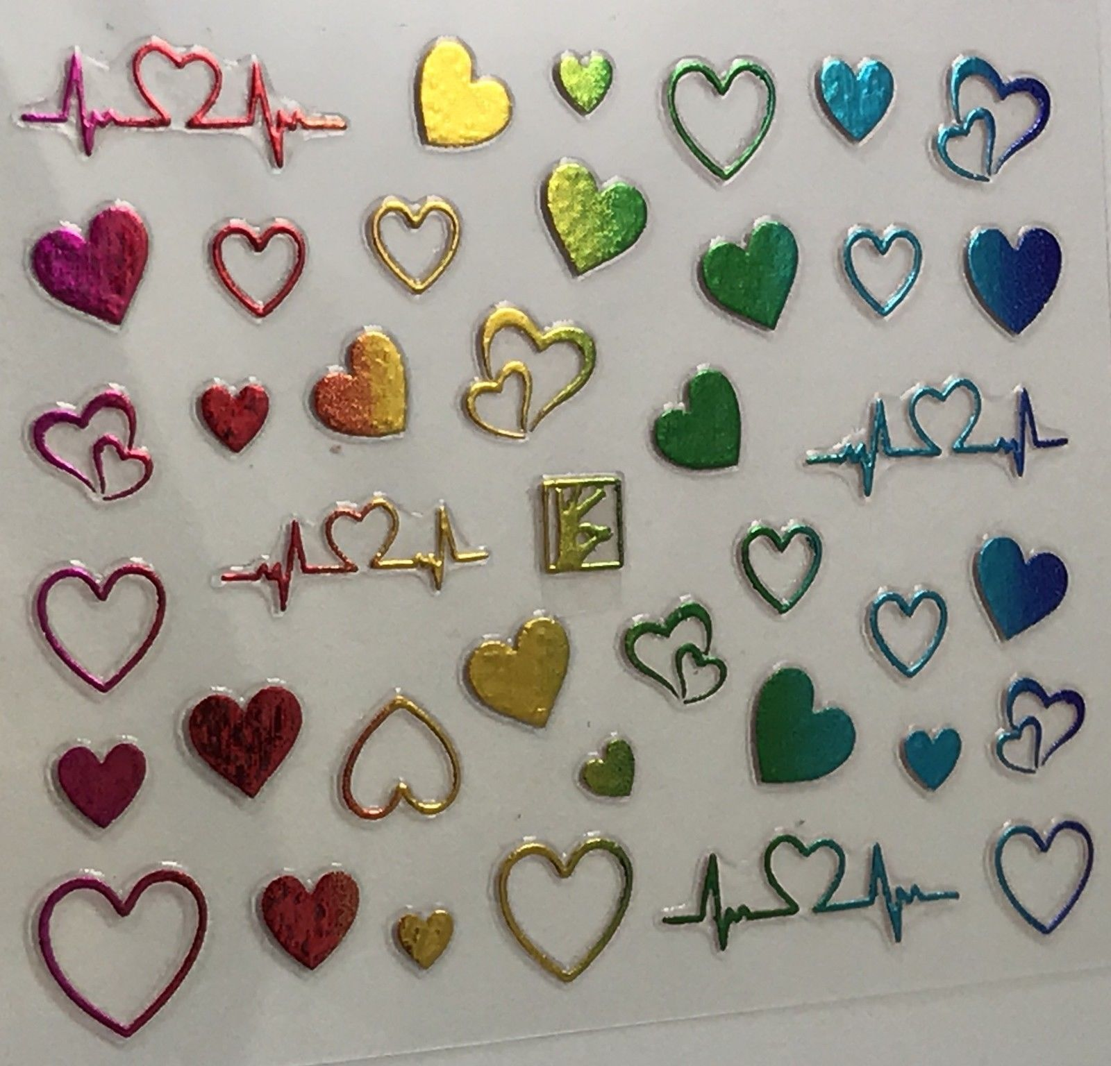 BANG STORE Nail Art 3D Decal Stickers Multicolored Metallic Heart Heartbeat Line