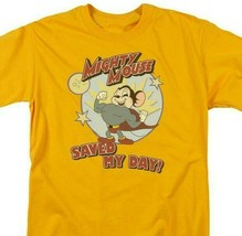 Mighty Mouse Saved My Day graphic gold t-shirt retro cartoon superhero CBS877 image 2