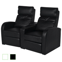 Artificial Leather 2-Seat Home Theater Movie TV Recliner Sofa Lounge Whi... - $403.99