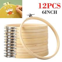 12pcs/set 6 Inch 15cm Wooden Embroidery Hoops Bamboo Circle Cross Stitch... - $13.78