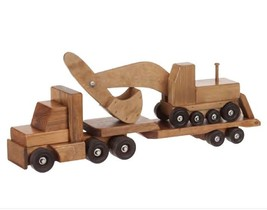 Flat Bed Tractor Trailer With Excavator Set - Large Amish Handmade Wood Toy Usa - $197.97