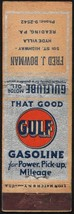 Vintage matchbook cover GULF GASOLINE Gulflube Motor Oil Fred Bowman Rea... - $8.09