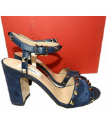 Valentino Garavani Rockstud Navy Blue Sandals Block Heel Gladiator Shoes... - $479.00