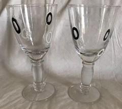 "Chunky Murano Millefiori Wine Goblets Glass  Black & White Circles 8"" Ha... - $29.69"