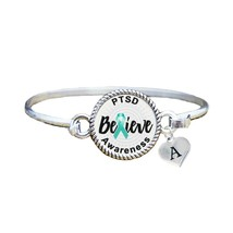 Custom PTSD Awareness Believe Silver Bracelet Jewelry Choose Initial Family - $14.84+