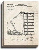 Fire Truck with Ladder Patent Print Old Look on Canvas - $39.95+