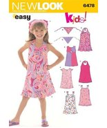 New Look Sewing Pattern 6478 Child Dresses, Size A (3-4-5-6-7-8) - $11.27