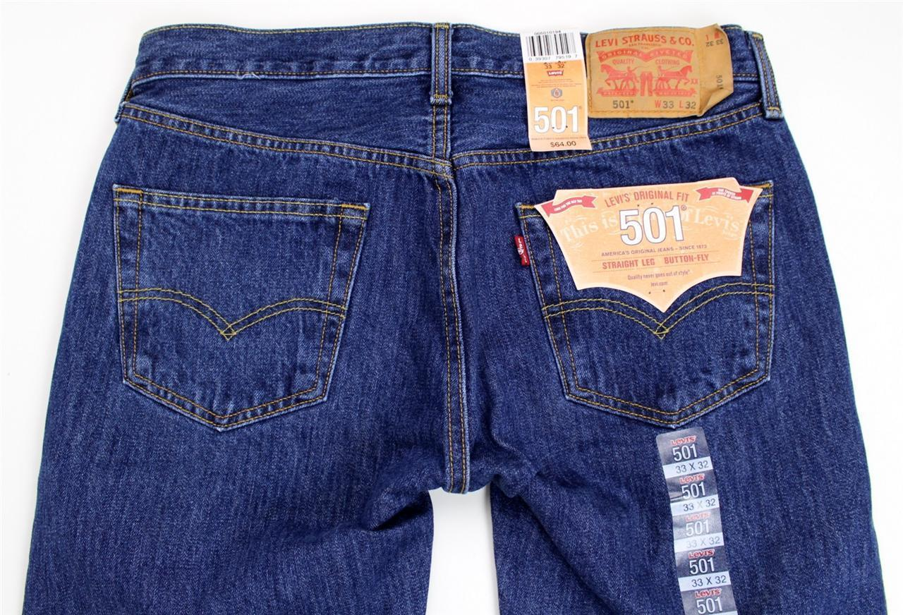 NEW NWT LEVI'S 501 MEN'S ORIGINAL FIT STRAIGHT LEG JEANS BUTTON FLY 501-0194
