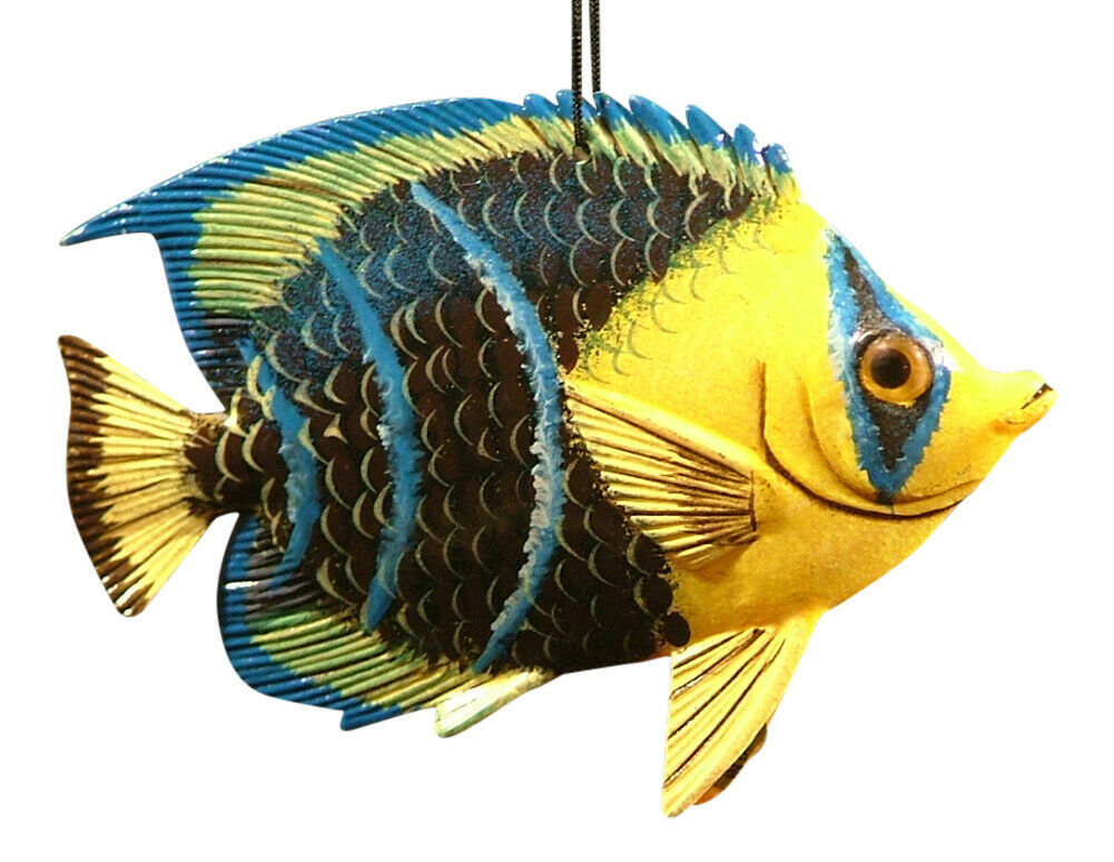 Tropical 3D Fish Christmas Tree Ornament 6 Inches Blue Tip 6ORN41 Resin