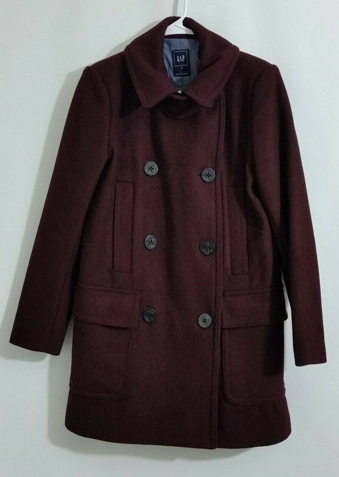 Primary image for GAP Womens Pea Coat Peacoat Jacket Burgundy Wool Blend Button Size M
