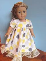 "homemade 18"" american girl/madame alexander yellow polka nightgown doll clothes - $19.60"