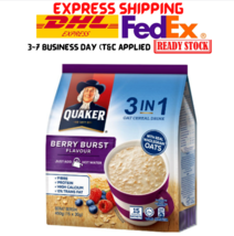 2 Packs Quaker Oats 3 in1 Oat Cereal Drink Berry Burst Flavor 15's X 28g Halal - $29.90
