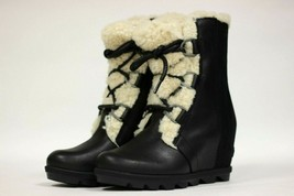 Sorel Women's Joan Of Arctic Wedge II Shearling NEW AUTHENTIC Black NL33... - $209.99
