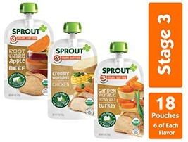 Sprout Organic Stage 3 Baby Food Pouches, Meat Variety, 4 Ounce Pack of 18 6 of