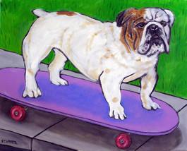 animal Art oil painting printed on canvas home decor Bulldog skateboard - $14.99+