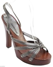 DOLCE & GABBANA Sandal Platform Leather Silver Metallic Pewter Slingback... - $118.75