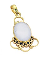 Fashion Gold Plated Agate Gemstone Pendant Jewelry FFU23JJP17 - $12.77