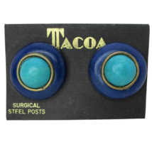 Vintage 80's Jewelry NOS Tacoa Blue Teal Round Statement Pierced Stud Earrings - $16.81