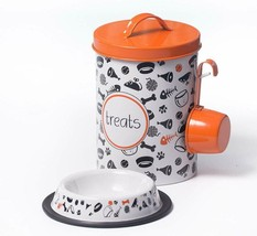 The Petsteel | Orange And White Decorative Canister With Bowl And Scoop ... - $35.63