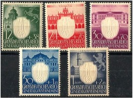 1943 Occupied Poland NSDAP Anniv'y Set of 5 Postage Stamps Catalog NB28-32 MNH