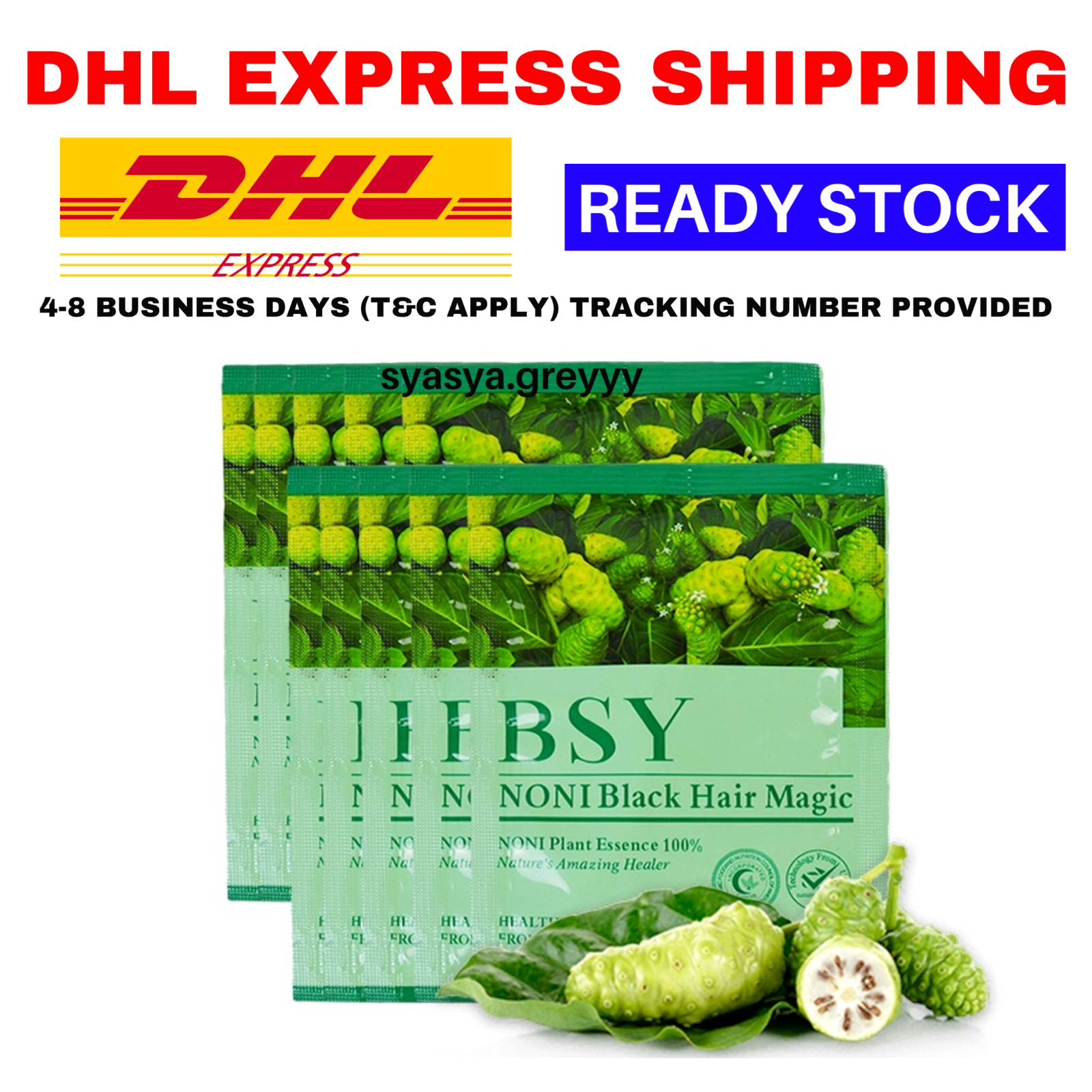 40 X BSY Noni Black Grey Hair Removal Magic Herbal Essence Shampo Dye 20ml DHL - $46.01
