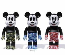 Bearbrick Bape(R) Mickey Mouse 1000% Green Blue Pink 3body Set Medicom Toy - $4,553.00