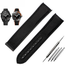 Black Strap Bracelet FOR Omega Seamaster Speedmaster Nylon rubber band 20mm - $39.99