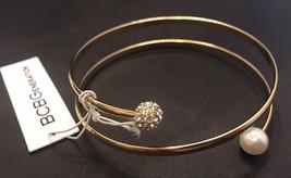BCBGeneration Goldtone Bangle Bracelet With Faux Pearls & Pave Rhineston... - $11.30