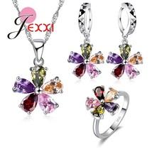 Lovely Flower Women Girls Party Crystal Jewelry Set 925 Sterling Silver ... - $17.44