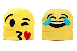 So Simple Emoji Beanie Funny Hat Winter Gift Yellow Kids Knit Fabric One... - $6.99