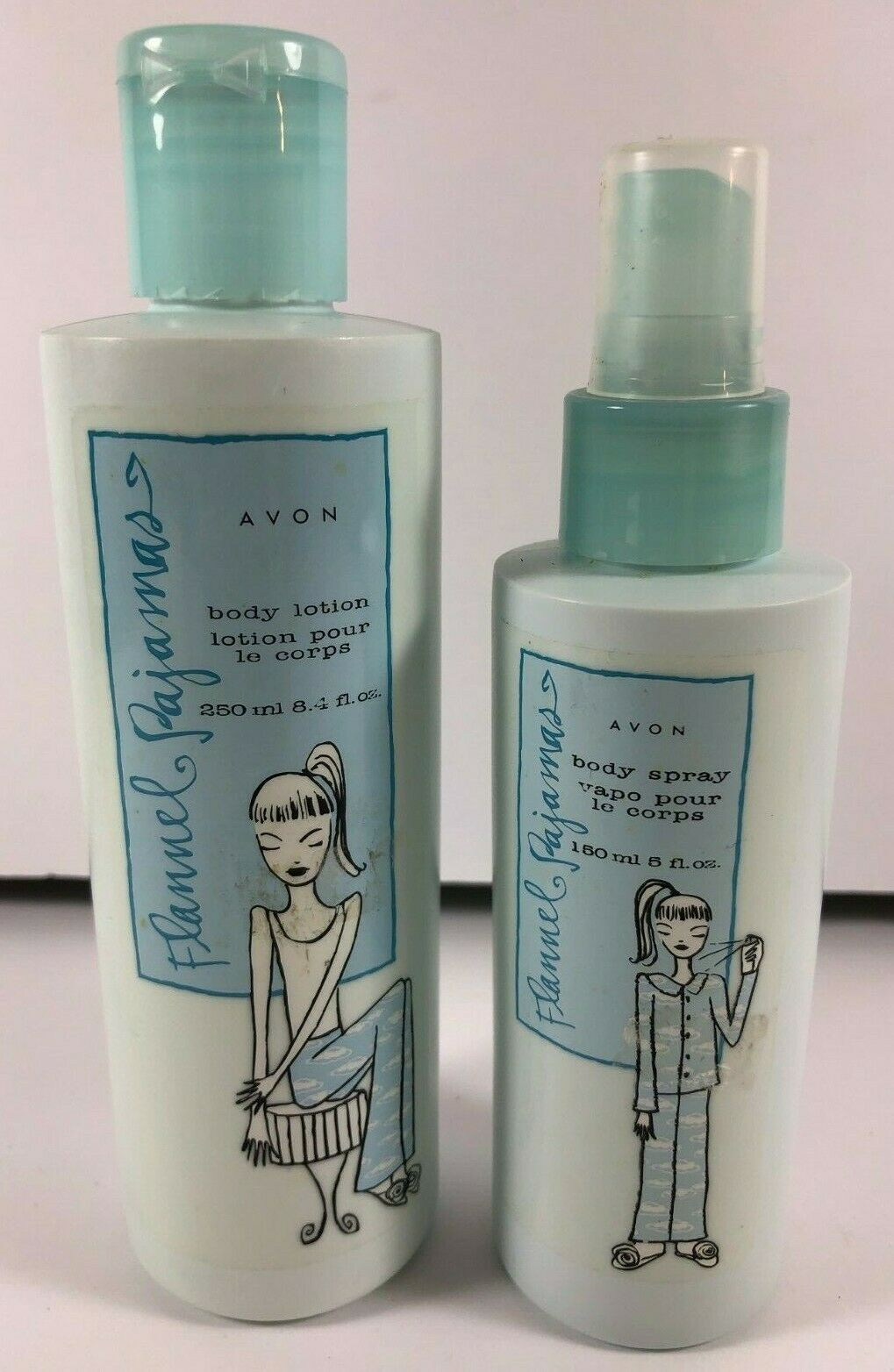 Vintage Lot of 2 Avon Flannel Pajamas Body Lotion Shower Body Spray Sealed