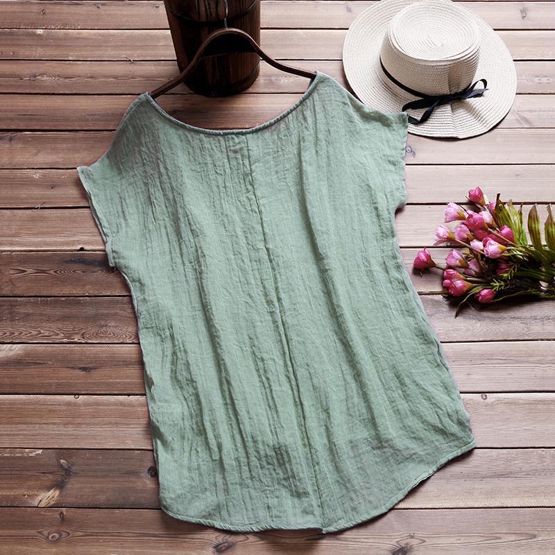 ZANZEA 2018 Summer Blouse WomenO Neck Batwing Short Sleeve Cotton Linen Loose So