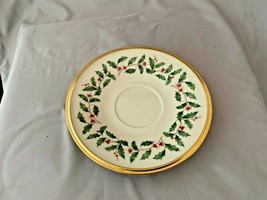 Lenox Holiday Vintage Tea cup Saucer Holly Berry Christmas dimension image 1