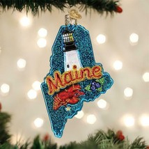 OLD WORLD CHRISTMAS STATE OF MAINE VACATIONLAND GLASS CHRISTMAS ORNAMENT... - $18.88