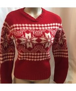 Ann Taylor Red & White wool snowflake print sweater S - $24.95