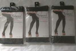LOT OF 3 ENCHANTED COSTUMES GIRLS OPAQUE TIGHTS MEDIUM (4-6) SOLID BLACK - $3.99