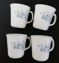 Colonial Mist Corelle by Corning Flat Coffee Mugs Blue Flowers Lot of Four - $14.73