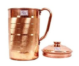 Handmade Copper Luxury Jug Pitcher storage drinking Water Indian Yoga Ay... - $31.05