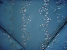 22Y ROMO DOTTED GOLD SCROLL ON SOFT OCEAN BLUE DRAPERY UPHOLSTERY FABRIC - $522.72