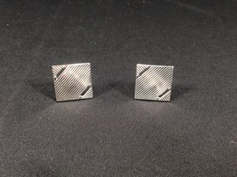 "Vintage Swank Silver Colored Square Cufflinks 3/4"" Face Cuff Links - $12.99"