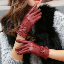 Womens Gloves Genuine Leather Red Sheepskin Winter Female Windproof Mittens - $17.66