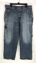 Tommy Jeans Mens Cargo Pocket Jeans Size 36x29 Blue Denim Light Wash Vtg - $24.74