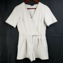 Topshop Petite Romper Sz 2 Gray Short Sleeve Shorts Surplice Neck 1 Pc O... - $24.99